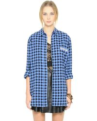 Blugirl Blumarine Embellished Cotton Flannel Shirt - Lyst