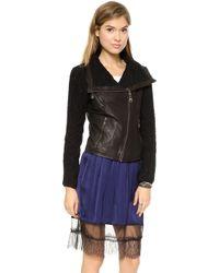 Doma Irregular Leather Moto Jacket  Black - Lyst