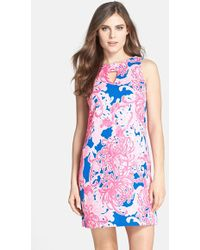Taylor Dresses Print Stretch Cotton Shift Dress - Lyst