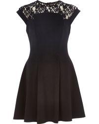 River Island Black Lace Top Skater Dress - Lyst