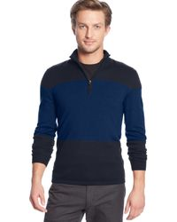 Calvin Klein Colorblocked Quarter-zip Merino Wool Sweater - Lyst
