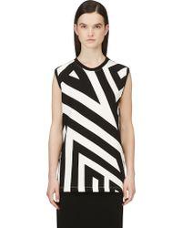 Gareth Pugh Black and White Graphic Stripe Sleeveless Sweatshirt - Lyst