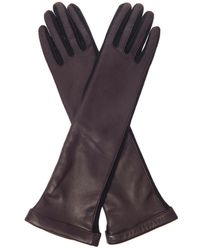 Lanvin Long-Length Leather And Wool Gloves - Lyst