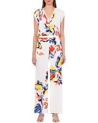 Saloni Dahlia Floral-Print Crepe Jumpsuit - For Women - Lyst