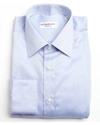 Saint Laurent Light Blue Tonal Stripe Cotton Point Collar Dress Shirt - Lyst