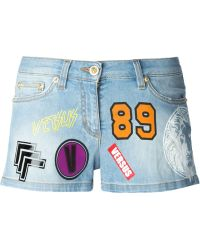 Versus - Printed Denim Shorts - Lyst