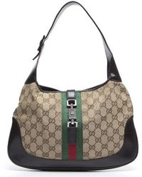 Gucci Pre-Owned Gucc Monogram Canvas Web Small Jackie O Bag - Lyst