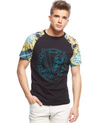 Versace Printed-Sleeve Graphic T-Shirt - Lyst