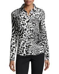 BCBGMAXAZRIA Tigerprint Jersey Buttonfront Blouse - Lyst
