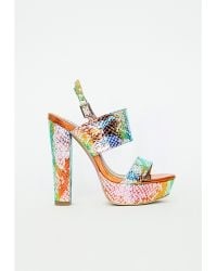 Missguided Platform Block Heel Sandals Holographic Snake - Lyst