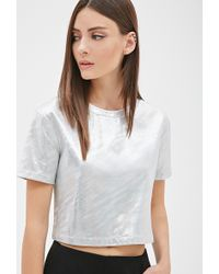Forever 21 Iridescent Crop Top - Lyst
