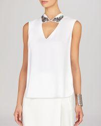 BCBGMAXAZRIA Bcbg Max Azria Top - Sofie Jeweled Collar - Lyst