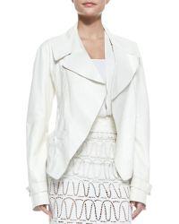 Donna Karan New York Topstitched Lambskin Trench Jacket - Lyst