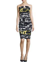 Black Halo Lena Strapless Print Sheath Dress - Lyst