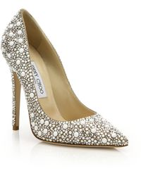 Jimmy Choo | Anouk 120 Crystal-embellished Suede Pumps | Lyst