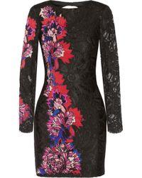 Emilio Pucci Floralappliquéd Lace Mini Dress - Lyst