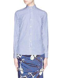 Stella Jean 'San Francisco' Stripe Cotton Poplin Shirt blue - Lyst