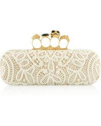 Alexander McQueen Knuckle Crochetknit and Satin Box Clutch - Lyst