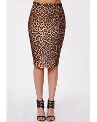 Missguided Plus Size Leopard Print Midi Skirt - Lyst
