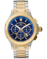 Saks Fifth Avenue - Two-Tone Chronograph Goldtone Ip Stainless Steel Watch - Lyst