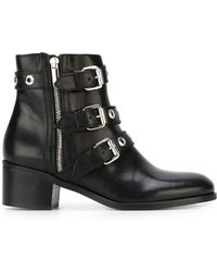 Diesel Black Gold | Buckled Leather Ankle Boots | Lyst