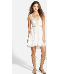 Free People Lace-Up Babydoll Dress - Lyst