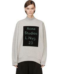 Acne Studios Grey Velvet Logo Beta Sweatshirt - Lyst