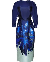Antonio Berardi Electric Blue Sheath Dress with Cape Sleeve - Lyst