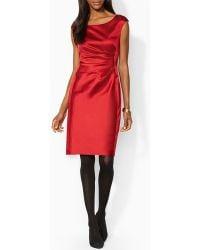 Ralph Lauren Lauren Petites Dress  Cap Sleeve Stretch Satin - Lyst
