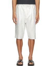 3.1 Phillip Lim Silver Metallic Leather Oversized Shorts - Lyst