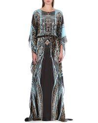 Roberto Cavalli Printed Silk Kaftan Brown - Lyst