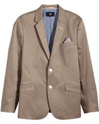 H&M Beige Cotton Blazer - Lyst