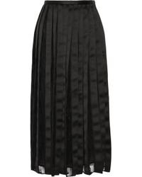 Adam Lippes Satin and Chantilly Lace Midi Skirt - Lyst