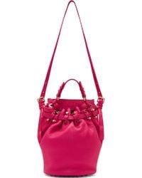 Alexander Wang Fuchsia Leather Studded Diego Bucket Bag - Lyst
