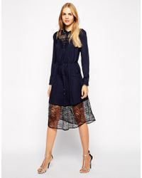 Aryn K. Blouson Bodice Dress With Drawstring Waist And Lac Contrast - Lyst