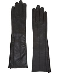 BCBGMAXAZRIA - Long-knit Inset Leather Gloves - Lyst