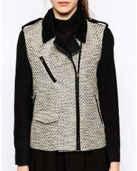See U Soon Biker Jacket with Metallic Tweed Contrast - Lyst