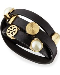 Tory Burch Livia Leather Wrap Bracelet - Lyst