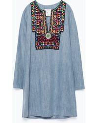 Zara Embroidered Denim Dress - Lyst