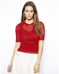 Twenty 8 Twelve Knitted Top with Short Sleeves and Collar - Lyst