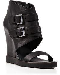 Ash Open Toe Platform Wedge Sandals - Lipstick - Lyst