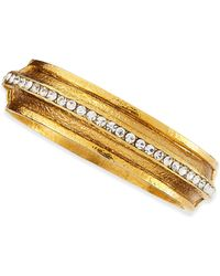 Jose & Maria Barrera Hammered Gold-Plated 1-Row Crystal Bracelet - Lyst