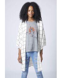 Topshop Petite Exclusive Grid Print Kimono  Ivory - Lyst