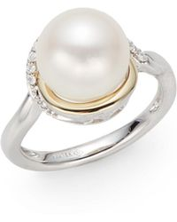 Mastoloni 10-105 Cultured Pearl  Diamond Two-tone Knot Ring - Lyst