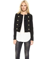Marchesa Voyage - Pleated Front Jacket Black - Lyst