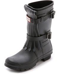 Hunter Original Fringe Short Boots - Black/Dark Slate - Lyst