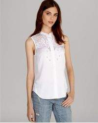 Karen Millen Shirt Soft Broderie Collection - Lyst
