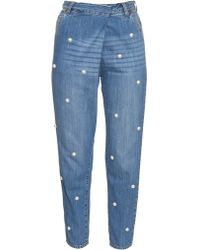 MUVEIL - Faux-pearl Embellished Boyfriend Jeans - Lyst