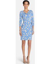 Tahari Drape Neck Print Jersey Sheath Dress (Regular & Petite) - Lyst