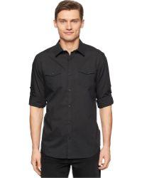 Calvin Klein Striped Roll-Tab Sleeve Shirt - Lyst